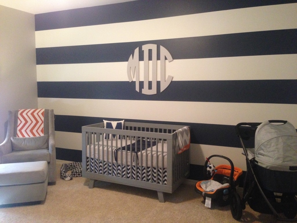 Maverick Dakota's Modern Nursery – Project Nursery In Newest Stripe Wall Accents (View 6 of 15)