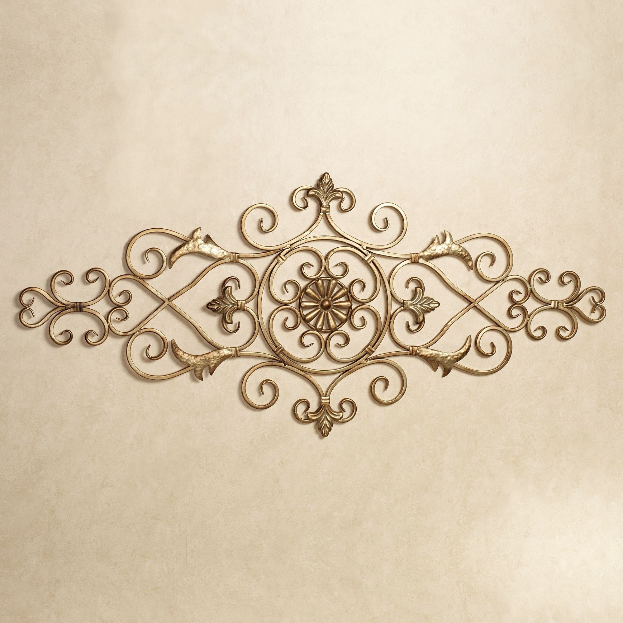Merano Scrolling Metal Wall Grille Regarding Most Popular Gold Wall Accents (Gallery 13 of 15)