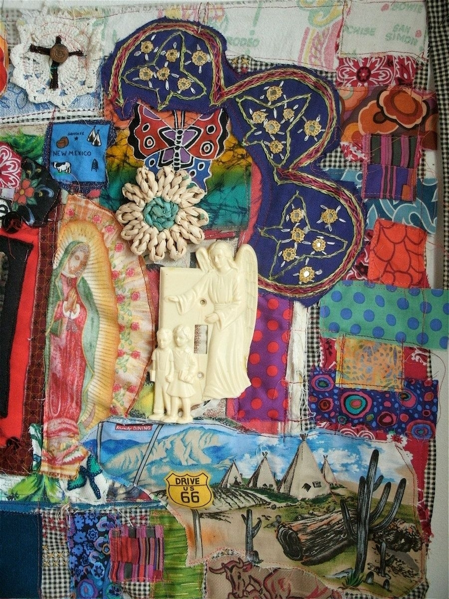 Mexican Altar Shrine Folk Art Textile Assemblage Collage | Altars Intended For Most Recent Fabric Collage Wall Art (View 10 of 15)