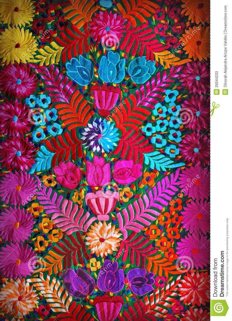 Mexican Floral Embroidery – Download From Over 29 Million High With Regard To Most Recent Mexican Fabric Wall Art (View 13 of 15)