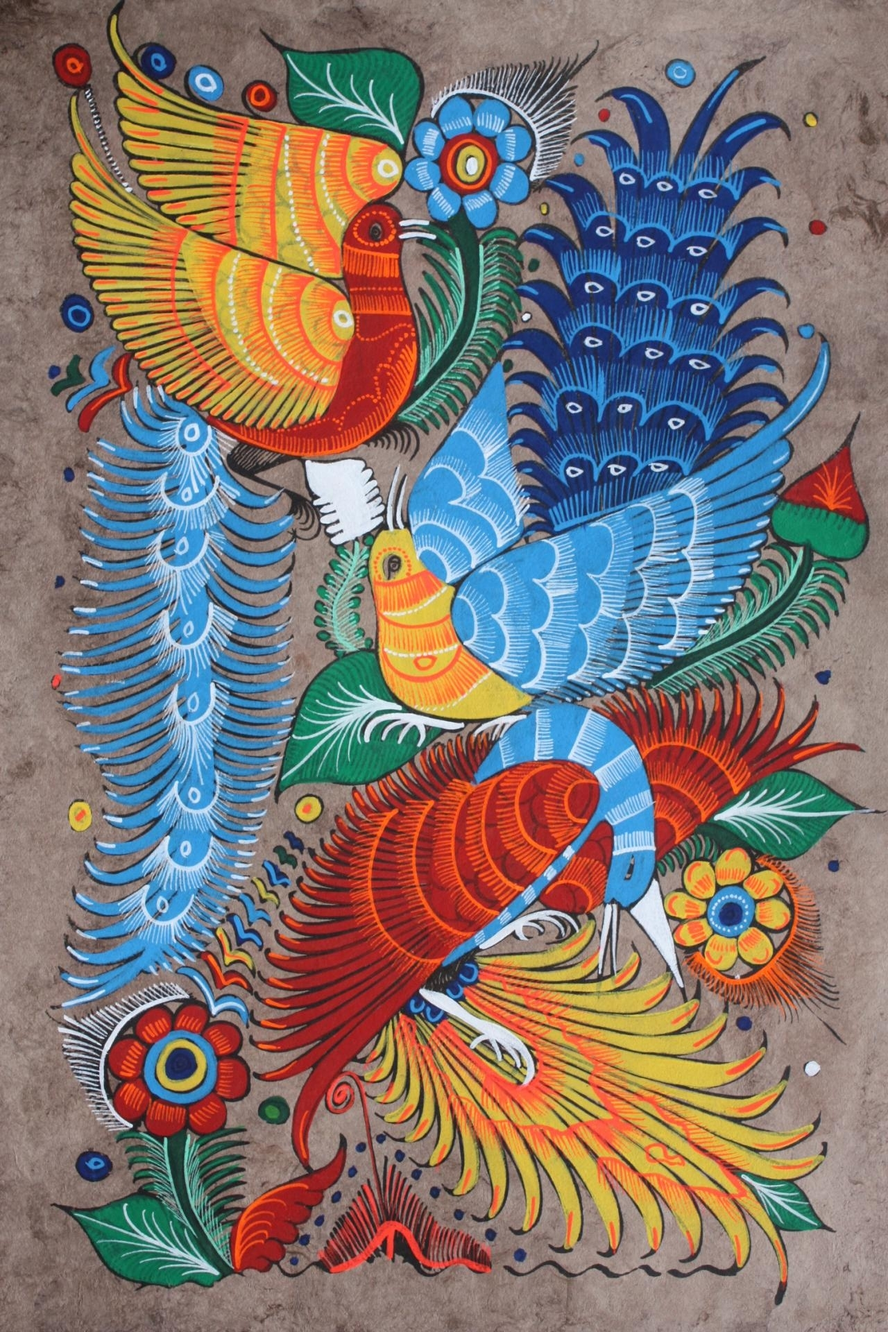 Mexican Painting Of Birds & Flowers Latin Folk Art Craft Home Regarding Most Recently Released Mexican Fabric Wall Art (View 5 of 15)