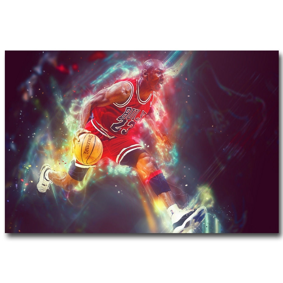 Michael Jordan Basketball Mvp Fabric Wall – Art Silk Poster Deco Regarding Most Current Silk Fabric Wall Art (Gallery 12 of 15)