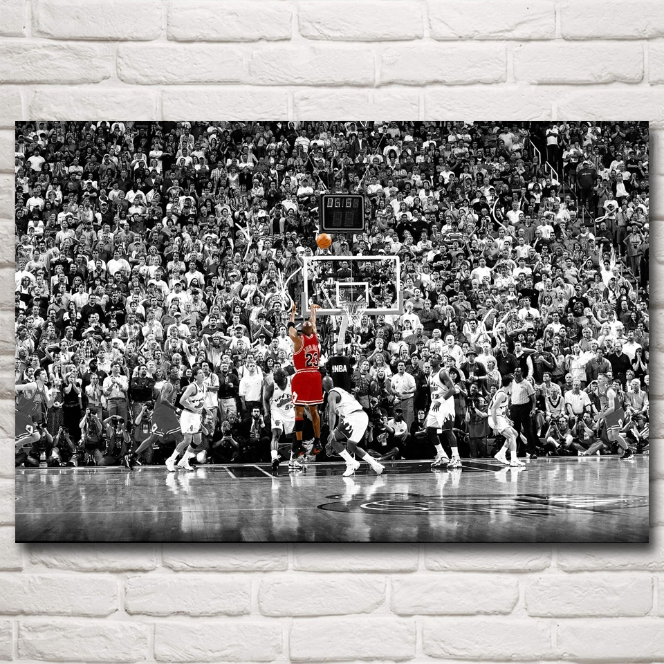 Michael Jordan Mj 23 The Last Shot Utah Art Silk Poster Prints With Most Recent Michael Jordan Canvas Wall Art (Gallery 15 of 15)