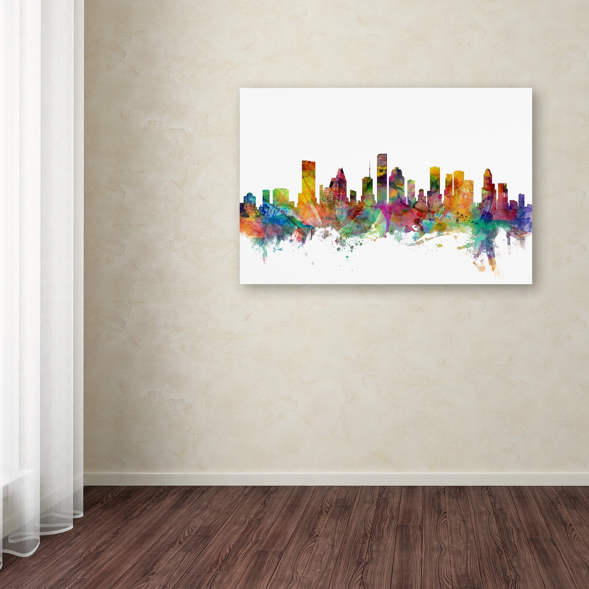 Michael Tompsett 'houston Texas Skyline' Canvas Wall Art – Free In Most Popular Houston Canvas Wall Art (View 9 of 15)