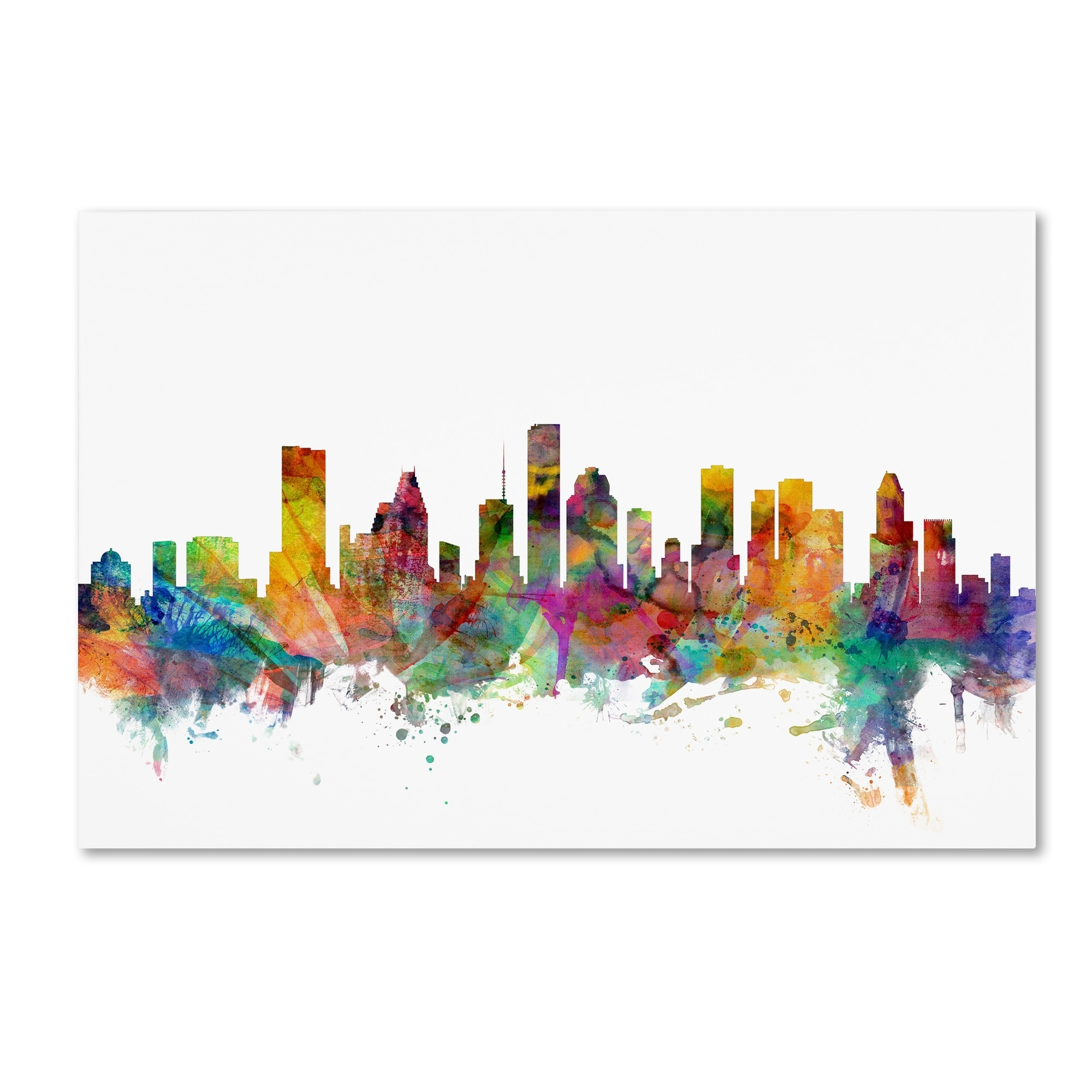 Michael Tompsett 'houston Texas Skyline' Canvas Wall Art – Free Inside Latest Houston Canvas Wall Art (View 14 of 15)