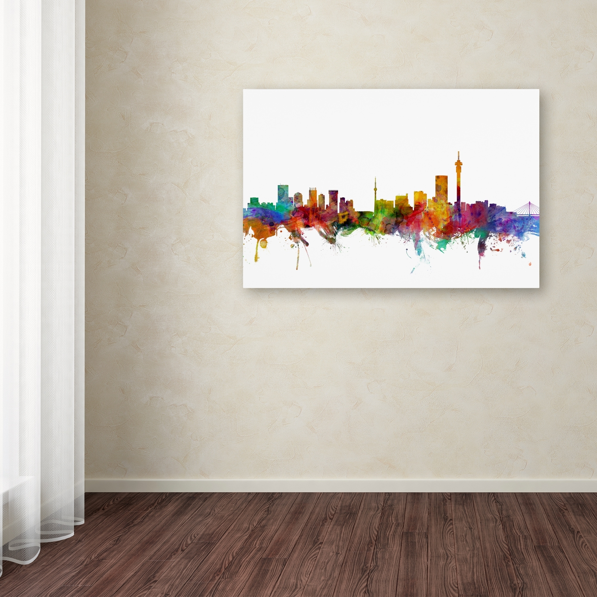 Michael Tompsett 'johannesburg South Africa Skyline' Canvas Wall With Best And Newest Johannesburg Canvas Wall Art (View 11 of 15)