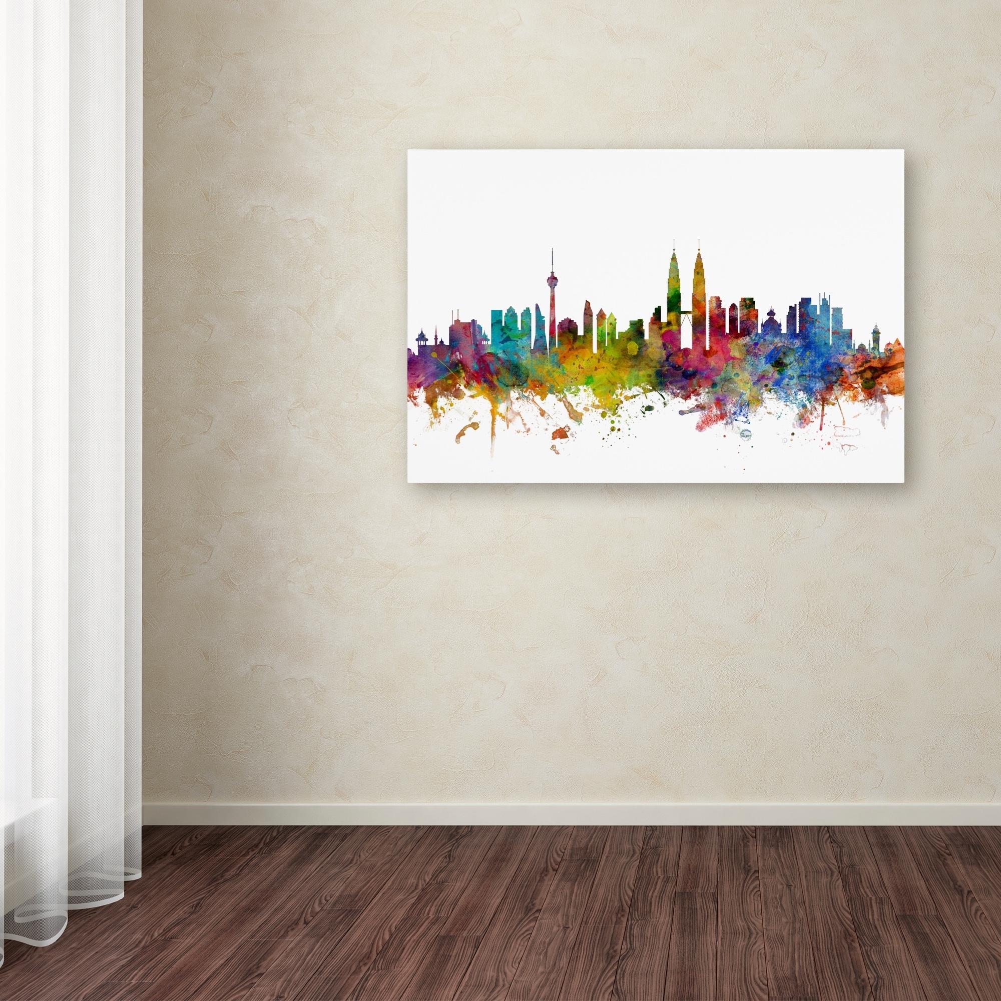 Michael Tompsett 'kuala Lumpur Malaysia Skyline Ii' Canvas Wall Inside Recent Malaysia Canvas Wall Art (View 3 of 15)