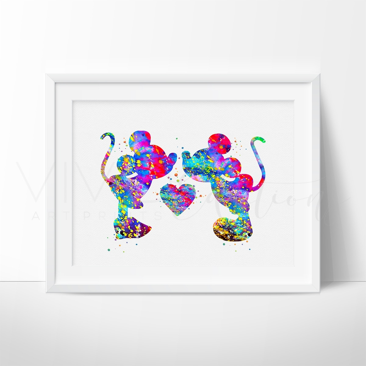 Mickey & Minnie Mouse Watercolor Art Print | Watercolor Images Within Best And Newest Mickey Mouse Canvas Wall Art (Gallery 14 of 15)