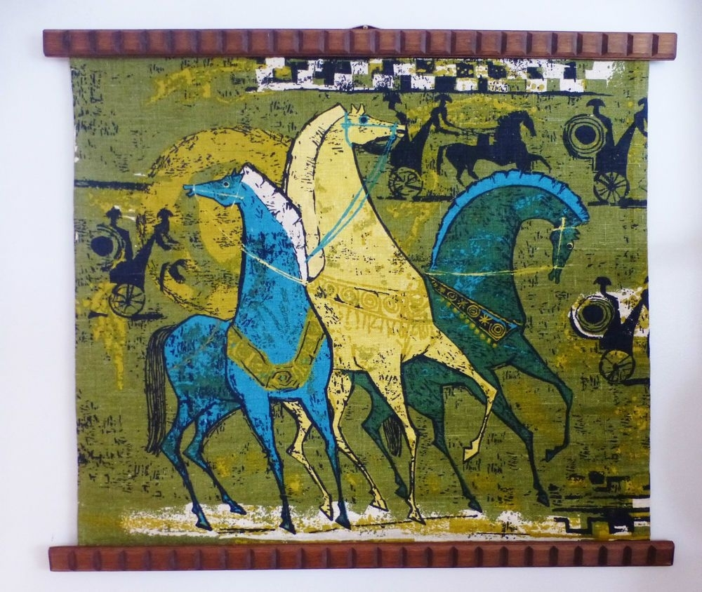Mid Century 1960's Linen Retro Horse Chariot Fabric Teak Trim Wall Throughout 2017 Mid Century Textile Wall Art (View 6 of 15)