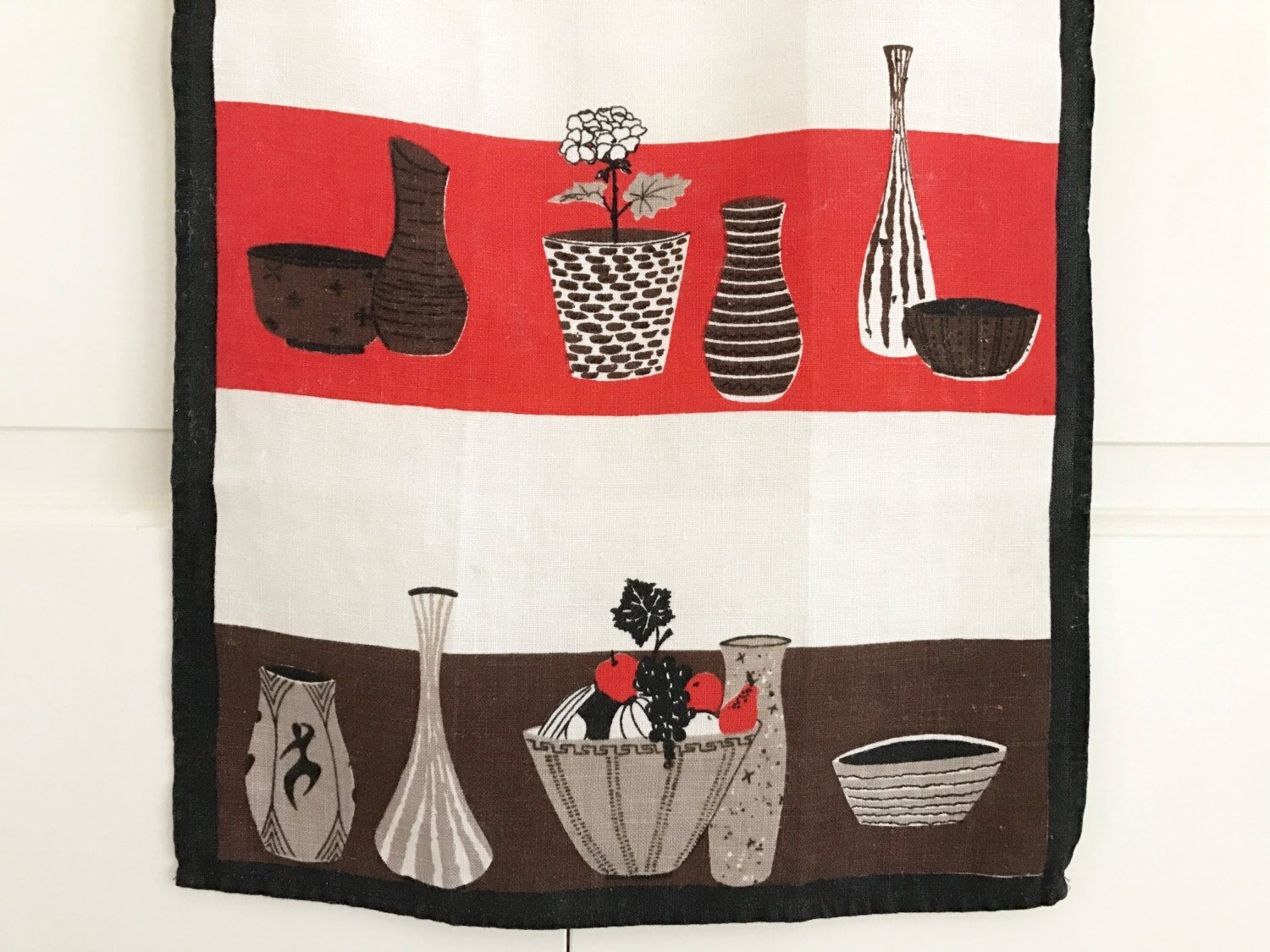 Mid Century Modern, Tea Towel, Cool Ceramic Vases, Bowls, Linen Throughout Most Current Mid Century Textile Wall Art (Gallery 14 of 15)