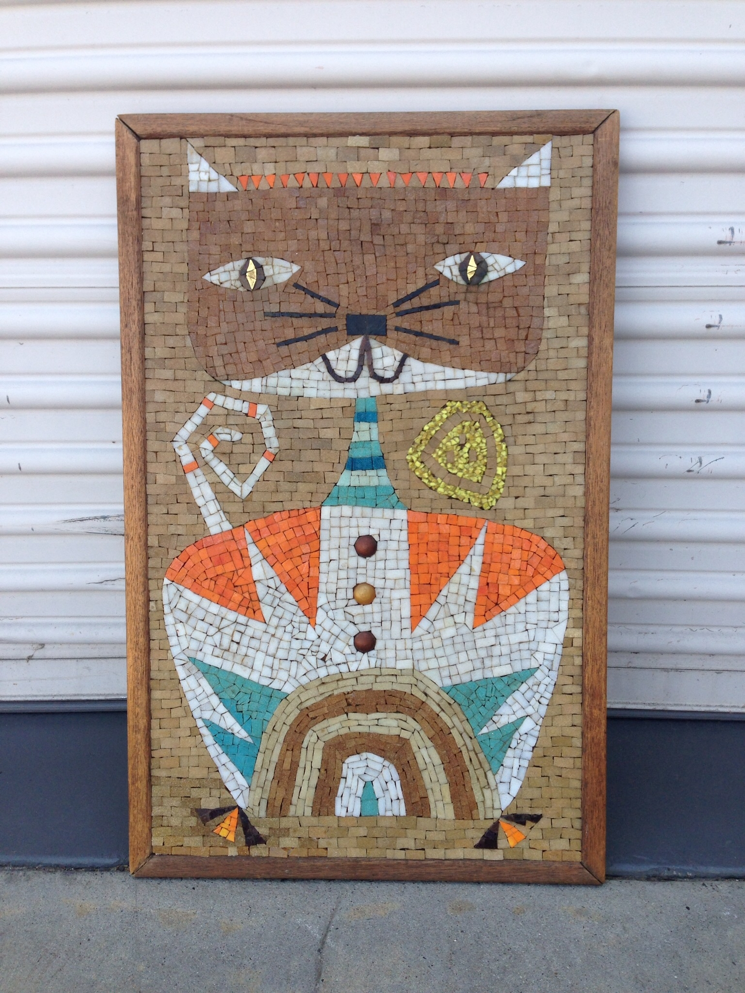 Mid Century Mosaic Cat Wall Art   Modern Flamingo Inventory Throughout 2017 Mid Century Textile Wall Art (View 6 of 15)