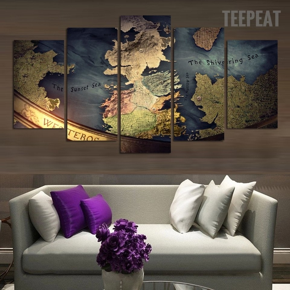Middle Earth Map – 5 Piece Canvas Painting | Middle Earth Map And With 2018 Maps Canvas Wall Art (Gallery 13 of 15)