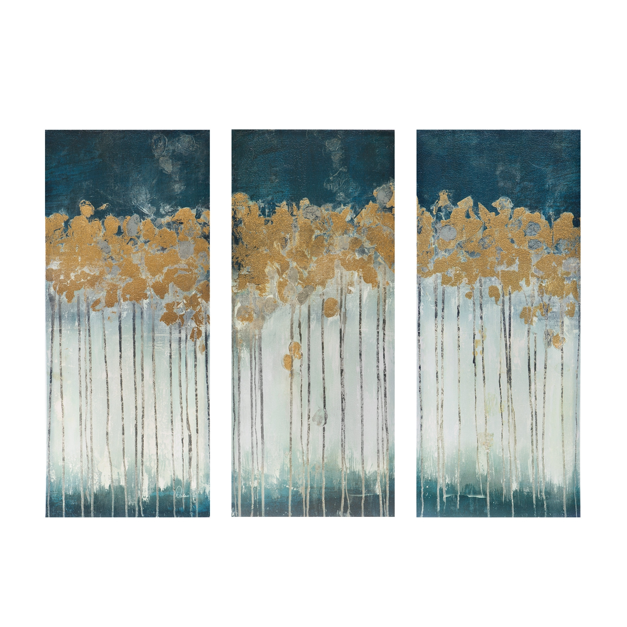 Midnight Forest' Gel Coat Canvas Wall Art With Gold Foil With Newest Gold Canvas Wall Art (Gallery 4 of 15)