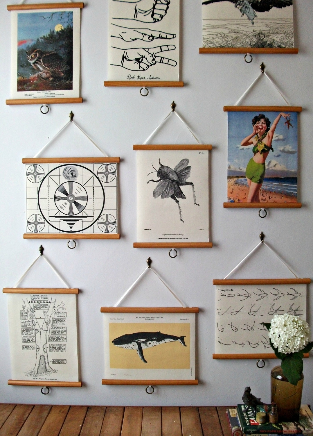 Mini Pull Down Map Vintage Style Wall Hanging Poster Print On For Latest Vintage Fabric Wall Art (View 4 of 15)