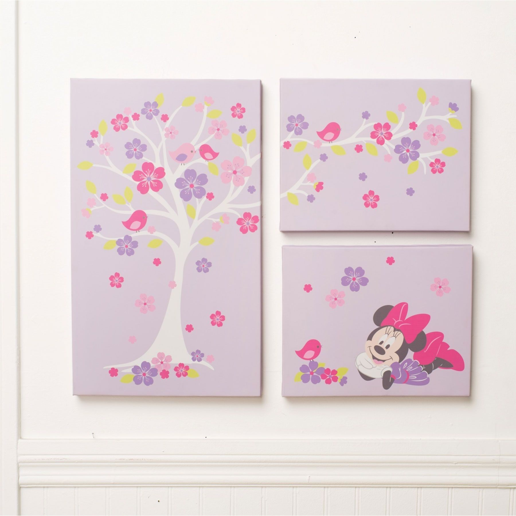 Minnie Mouse Love Blossoms Premier 3 Piece Canvas Wall Art Throughout Latest Baby Room Canvas Wall Art (Gallery 8 of 15)