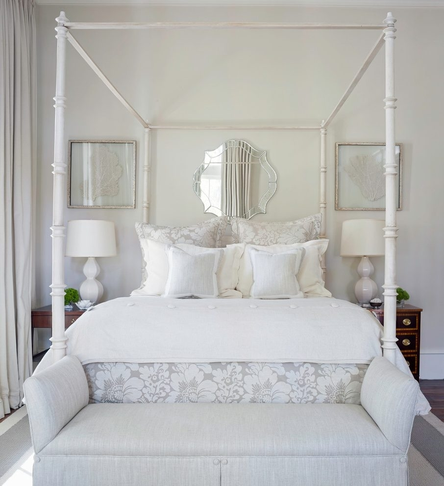 Mirror Over Bed Bedroom Traditional With Wall Art Fabric Shade For Current Fabric Wall Art Above Bed (View 10 of 15)