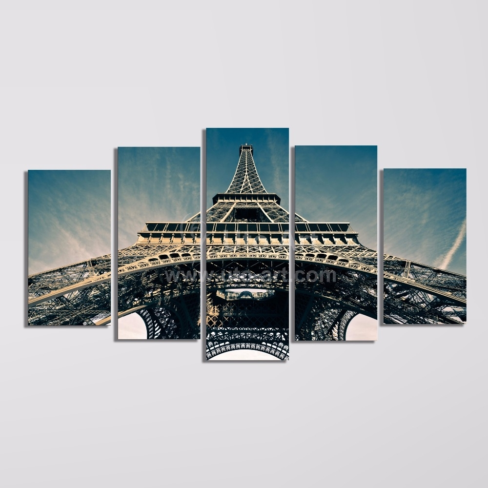 Modern 5 Piece Wall Art Painting Paris City Custom Canvas Prints With Newest Eiffel Tower Canvas Wall Art (View 10 of 15)