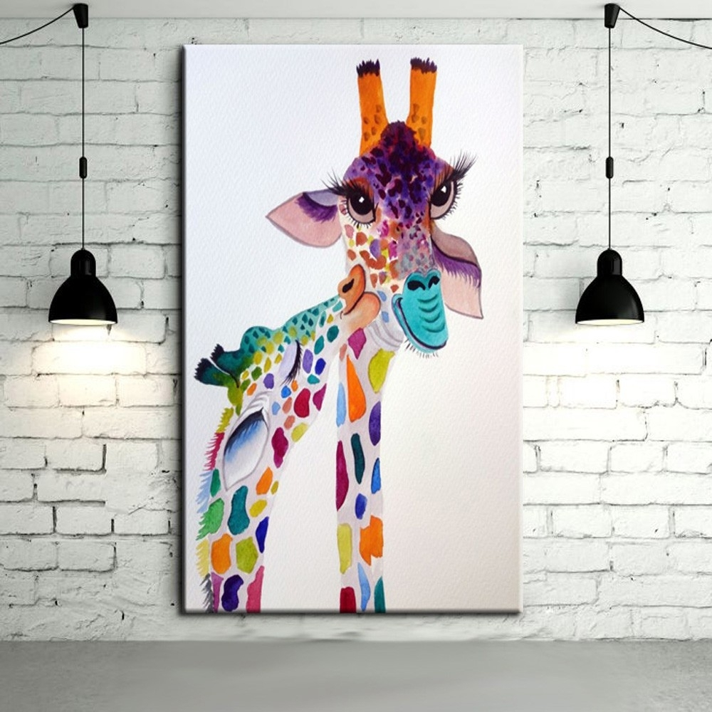 Modern Abstract Art Hang Pictures Handpainted Lovely Baby Giraffe With Newest Giraffe Canvas Wall Art (View 10 of 15)