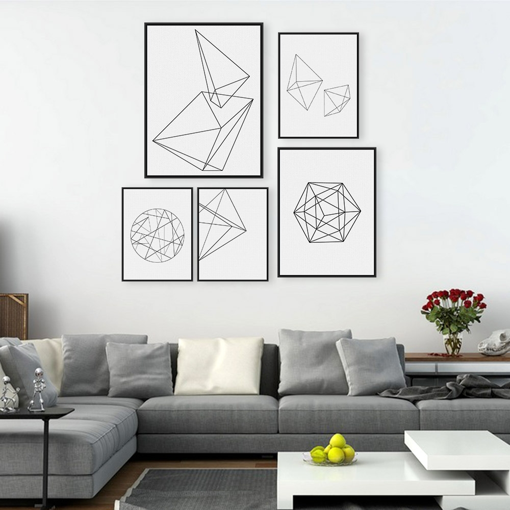 Modern Abstract Black White Geometric Shape A4 Poster Print Within 2017 Black And White Framed Art Prints (View 6 of 15)