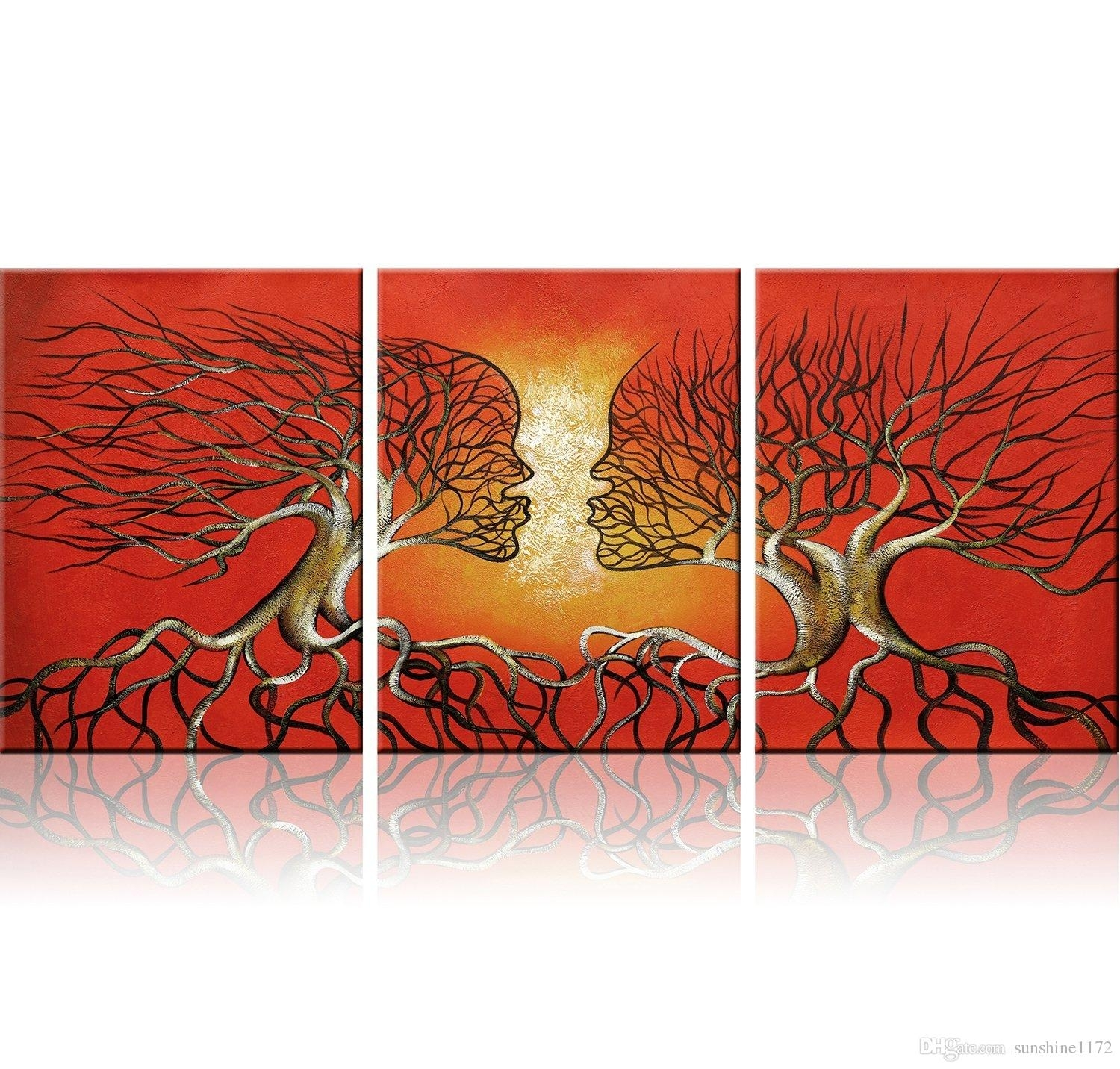 Modern Abstract Lovers Tree Wall Art Red Framed Giclee Canvas For Pertaining To Most Up To Date Canvas Wall Art In Red (View 15 of 15)