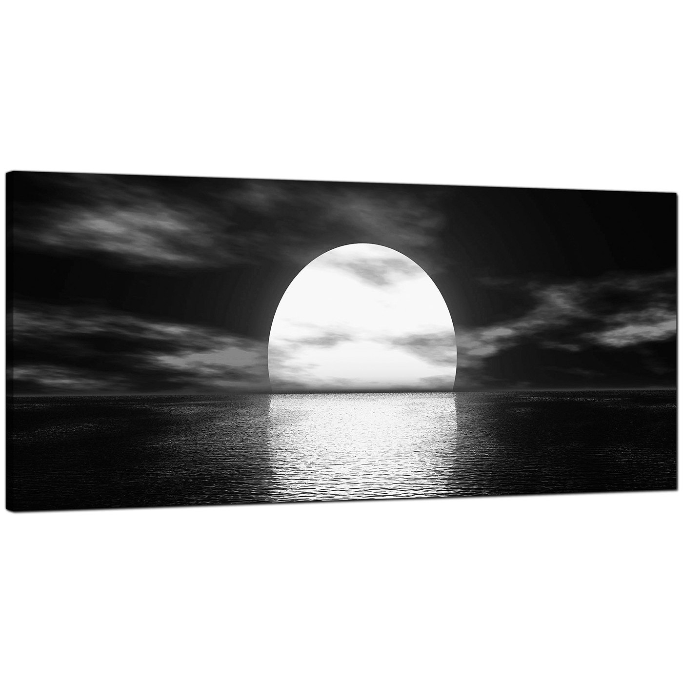 Modern Black And White Canvas Wall Art Of An Ocean Sunset Inside Newest Black And White Canvas Wall Art (View 8 of 15)