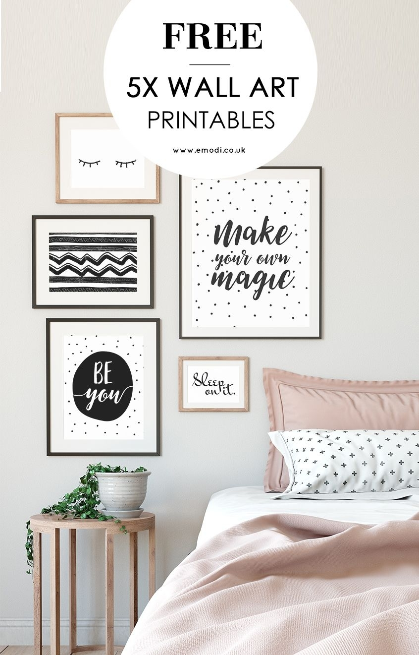 Modern, Black And White Printables For Your Scandi Style Bedroom With Regard To Most Recent Wall Art Fabric Prints (View 13 of 15)