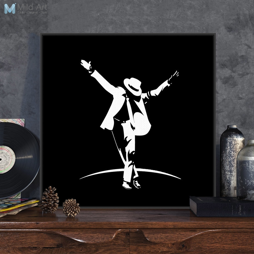 Modern Black White Pop Music Super Star Michael Jackson Canvas A4 Regarding Latest Michael Jackson Canvas Wall Art (Gallery 2 of 15)