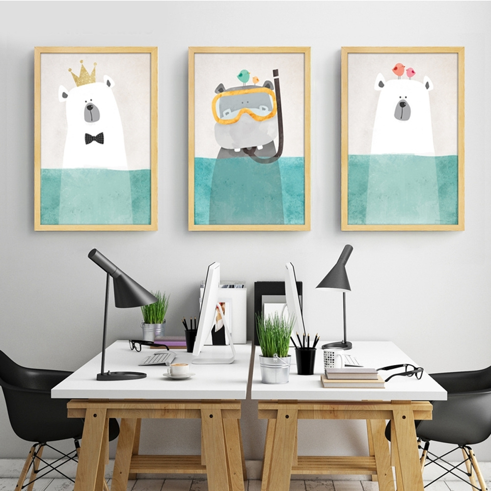 Modern Canvas Painting Art Nordic Kawaii Animals Bear Hippo Poster In Most Recently Released Modern Nursery Canvas Wall Art (View 8 of 15)