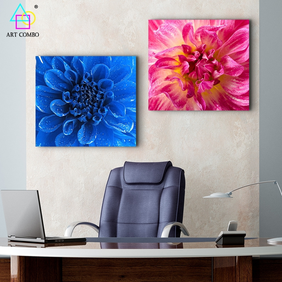 Modern Canvas Painting Blue And Pink Blooming Flower Wall Art Inside 2018 Modern Fabric Wall Art (View 14 of 15)