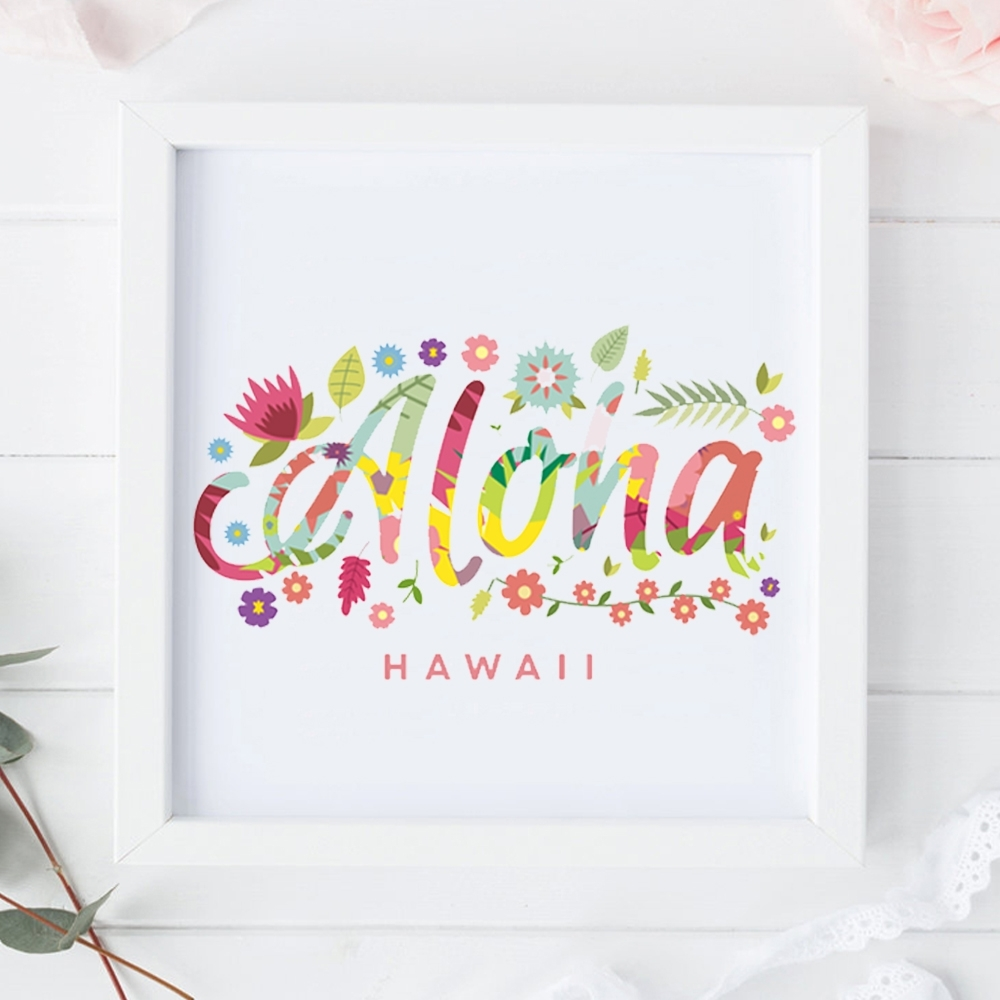 Modern Canvas Print Painting Poster Of Watercolor Tropical Flower In Most Recently Released Hawaii Canvas Wall Art (View 9 of 15)