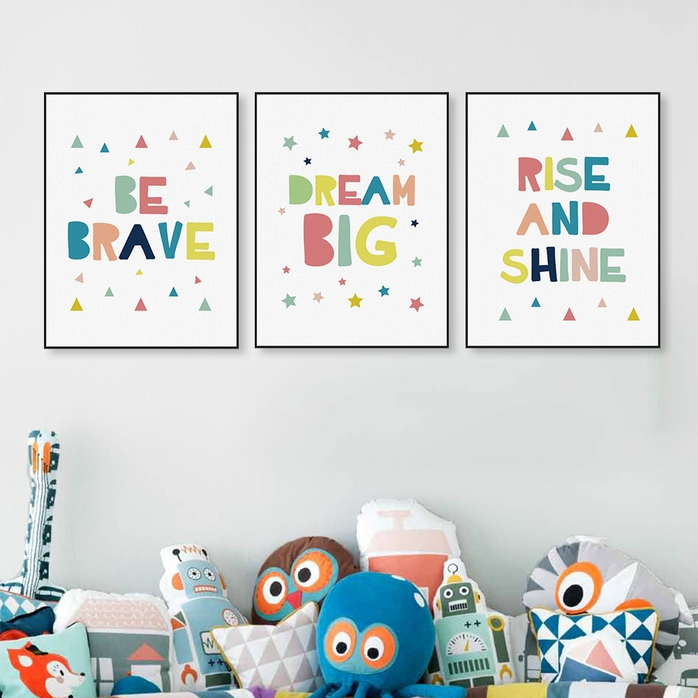 Modern Color Motivational Dream Quotes A4 Poster Wall Art Picture With Most Recent Modern Nursery Canvas Wall Art (View 12 of 15)