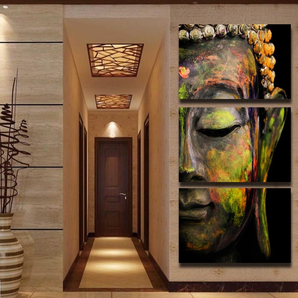 Modern Colorful Buddha Canvas Prints Paintingnumbers Home With Most Recent Oil Paintings Canvas Wall Art (Gallery 12 of 15)