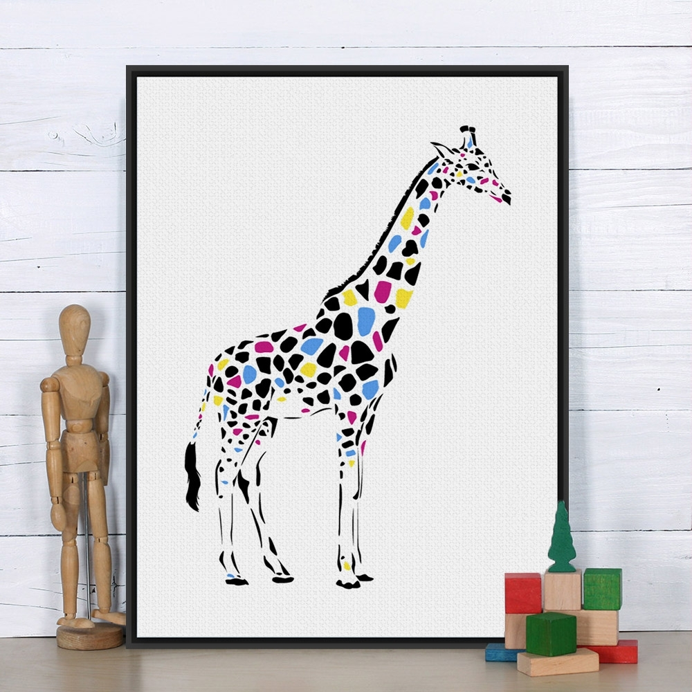 Modern Colorful Giraffe Personalised Animal Art Print Poster With Current Framed Animal Art Prints (View 12 of 15)