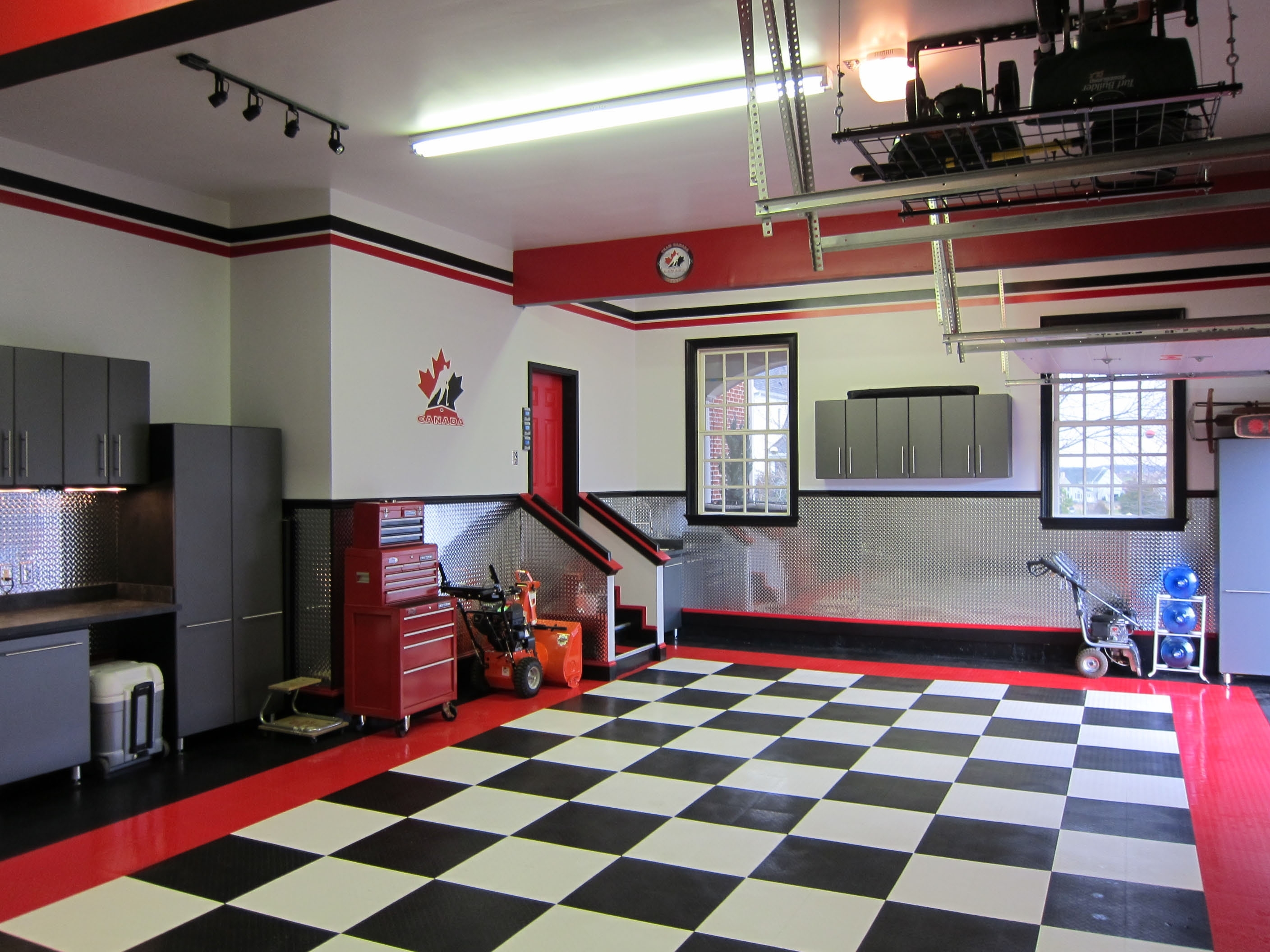 Modern Garage Decors With Cool Checkered Floor Tiled Ideas With With 2017 Garage Wall Accents (View 5 of 15)