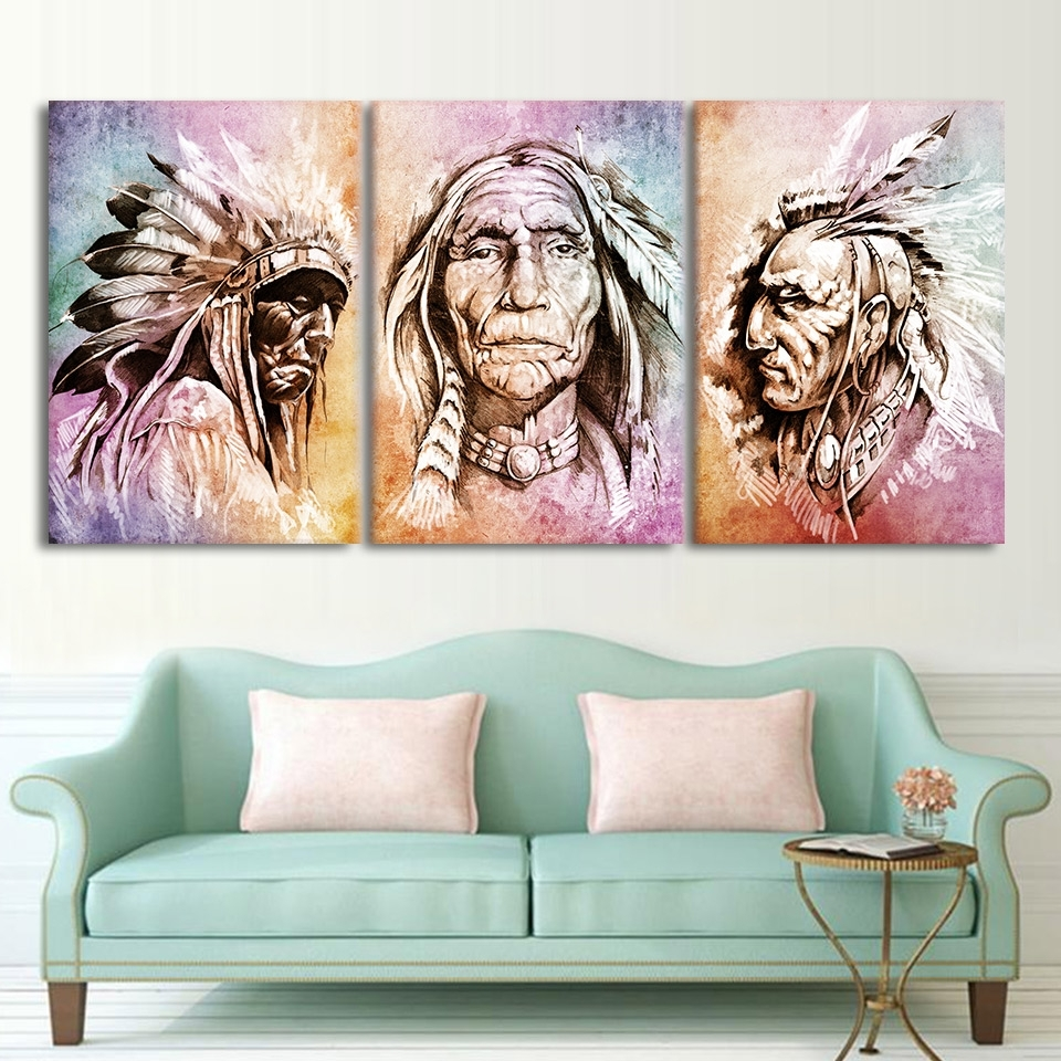 Modern Hd Printed Wall Art Frame Canvas Pictures 3 Pieces American For Most Recently Released Portrait Canvas Wall Art (View 11 of 15)