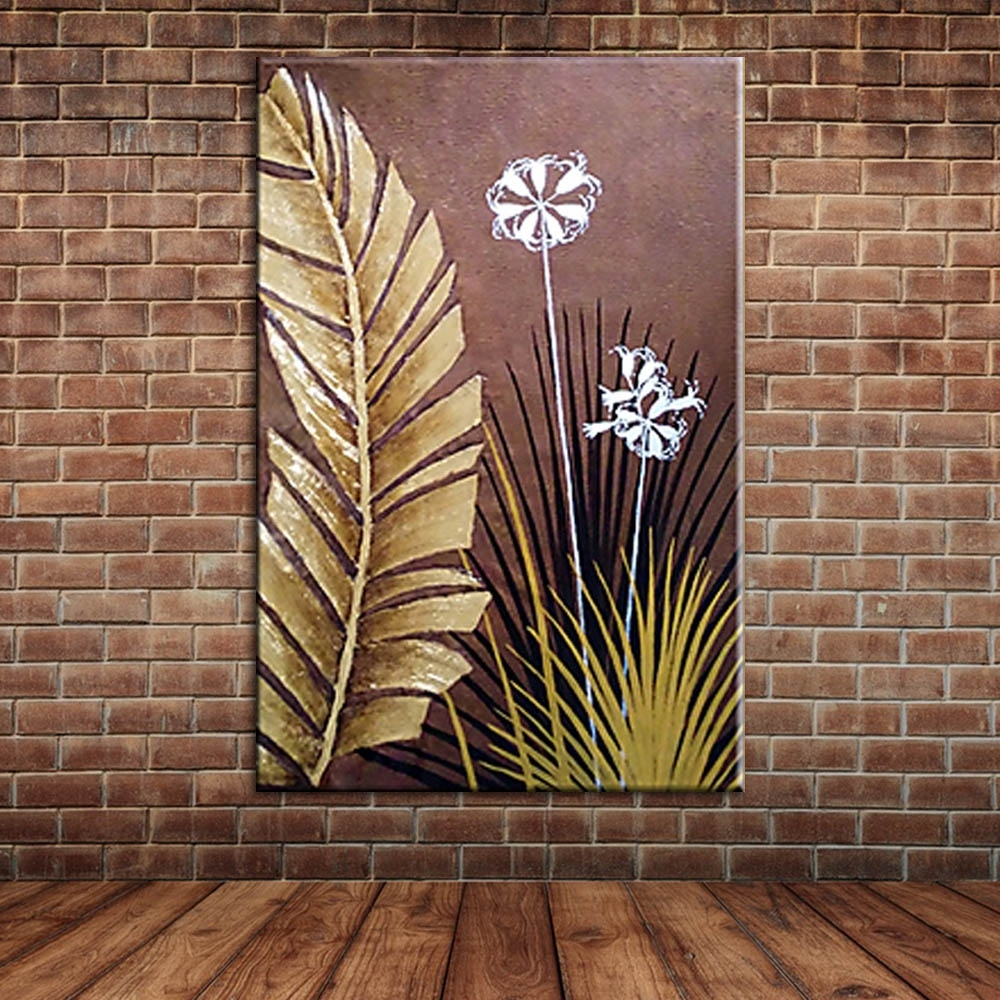 Modern Large Wall Art Landscape Golden Foil Palm Leaves Oil Inside Newest Fabric Painting Wall Art (View 13 of 15)