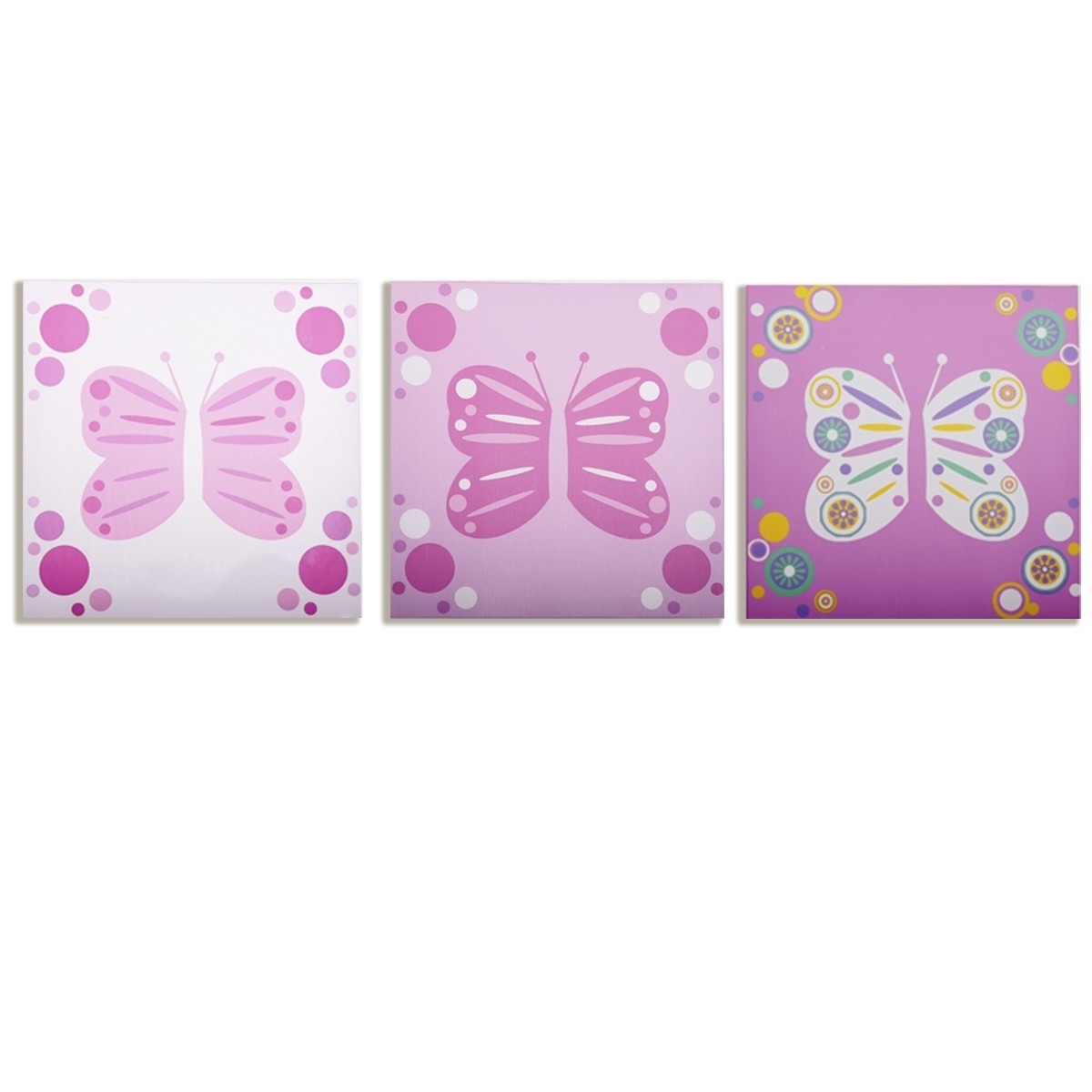 Modern Littles – Rose Butterfly – Canvas Wall Art – 3 Pc. Set Regarding Recent Butterflies Canvas Wall Art (Gallery 13 of 15)