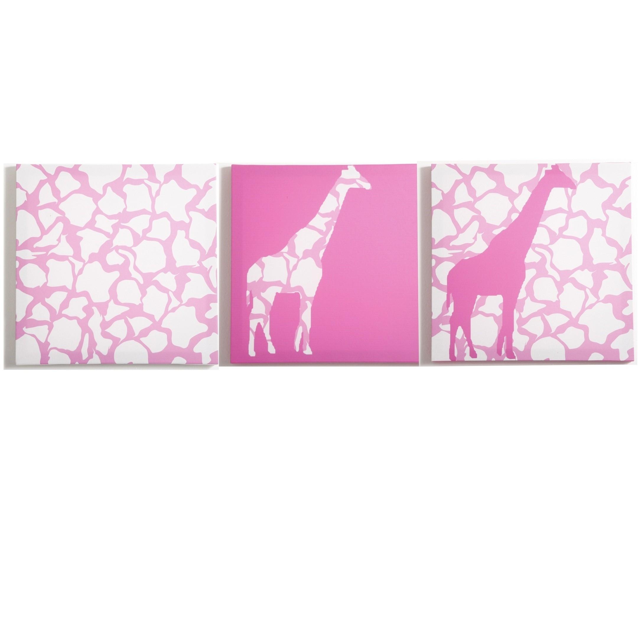 Modern Littles – Rose Giraffe – Canvas Wall Art – 3 Pc. Set With Regard To Most Popular Giraffe Canvas Wall Art (Gallery 6 of 15)