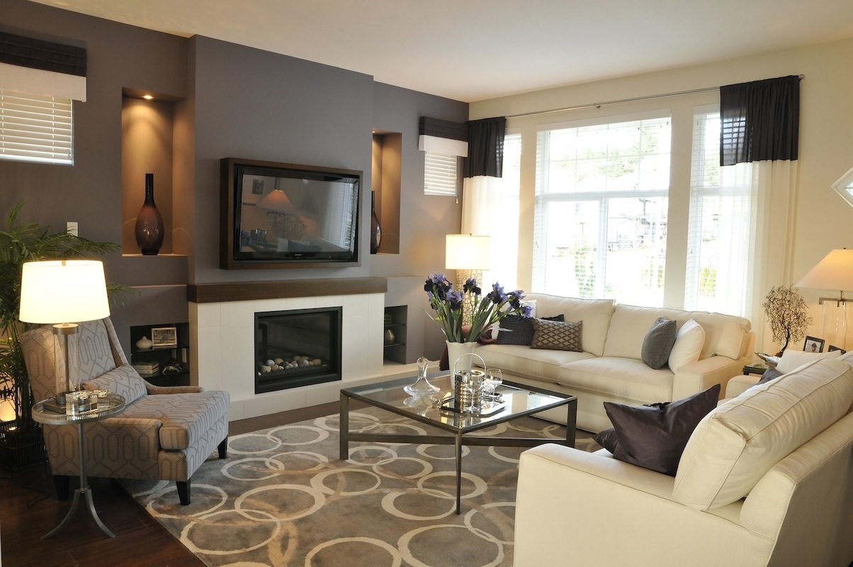 Modern Living Space With Drak Grey Accent Wall | Living Spaces Throughout Newest Wall Accents For Living Room (View 9 of 15)