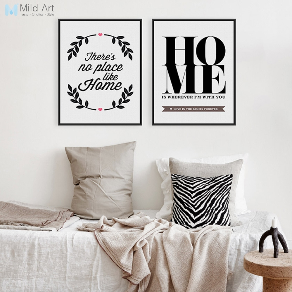 Modern Minimalist Black White Motivational Typography Quotes Throughout Recent Canvas Wall Art Family Quotes (View 3 of 15)