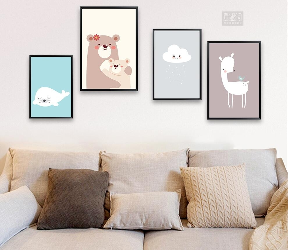 Modern Nordic Cute Cloud Canvas Painting On Canvas Wall Art In Most Recently Released Modern Nursery Canvas Wall Art (View 10 of 15)