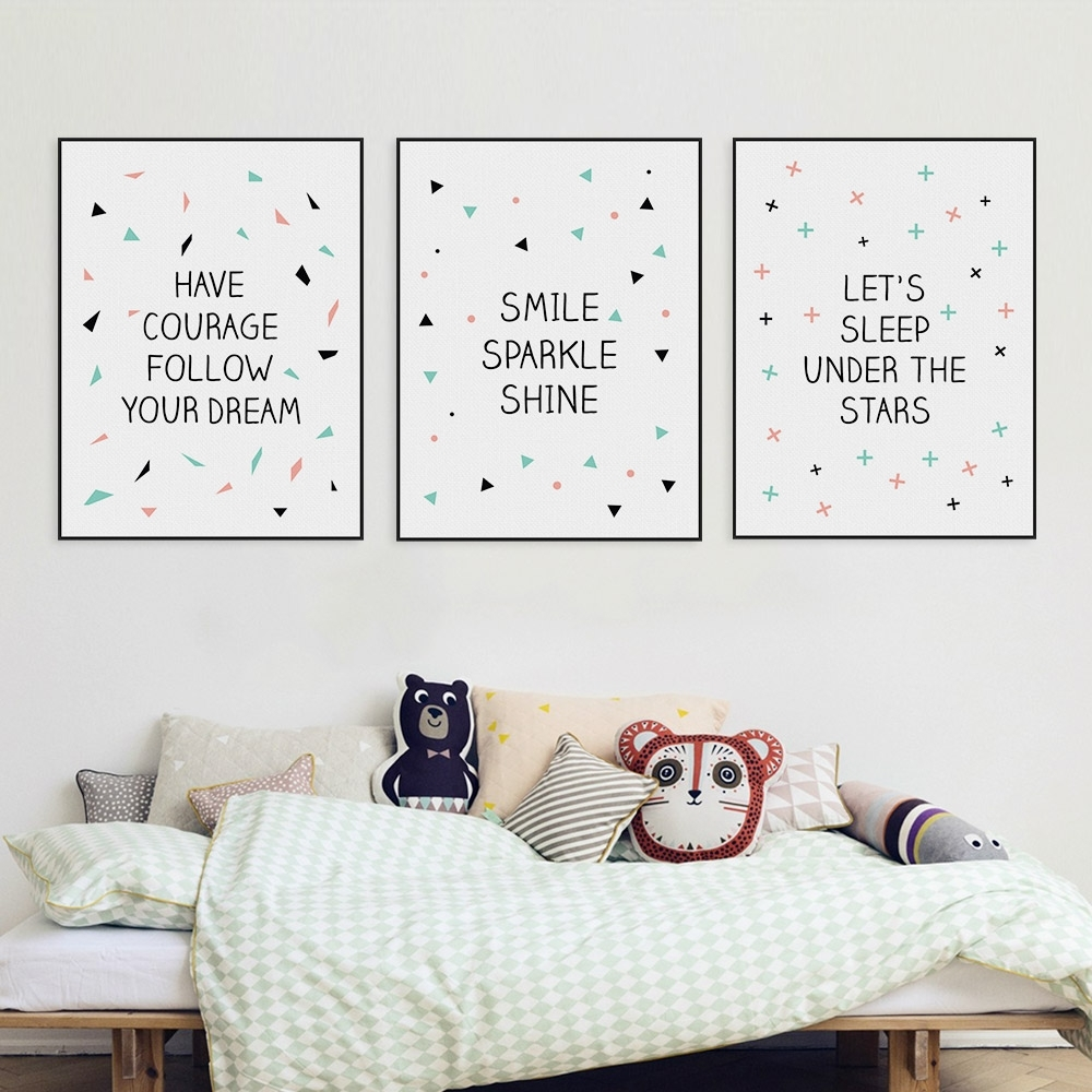 Modern Nordic Minimalist Typography Star Quote Canvas Art Print In Newest Modern Nursery Canvas Wall Art (Gallery 1 of 15)