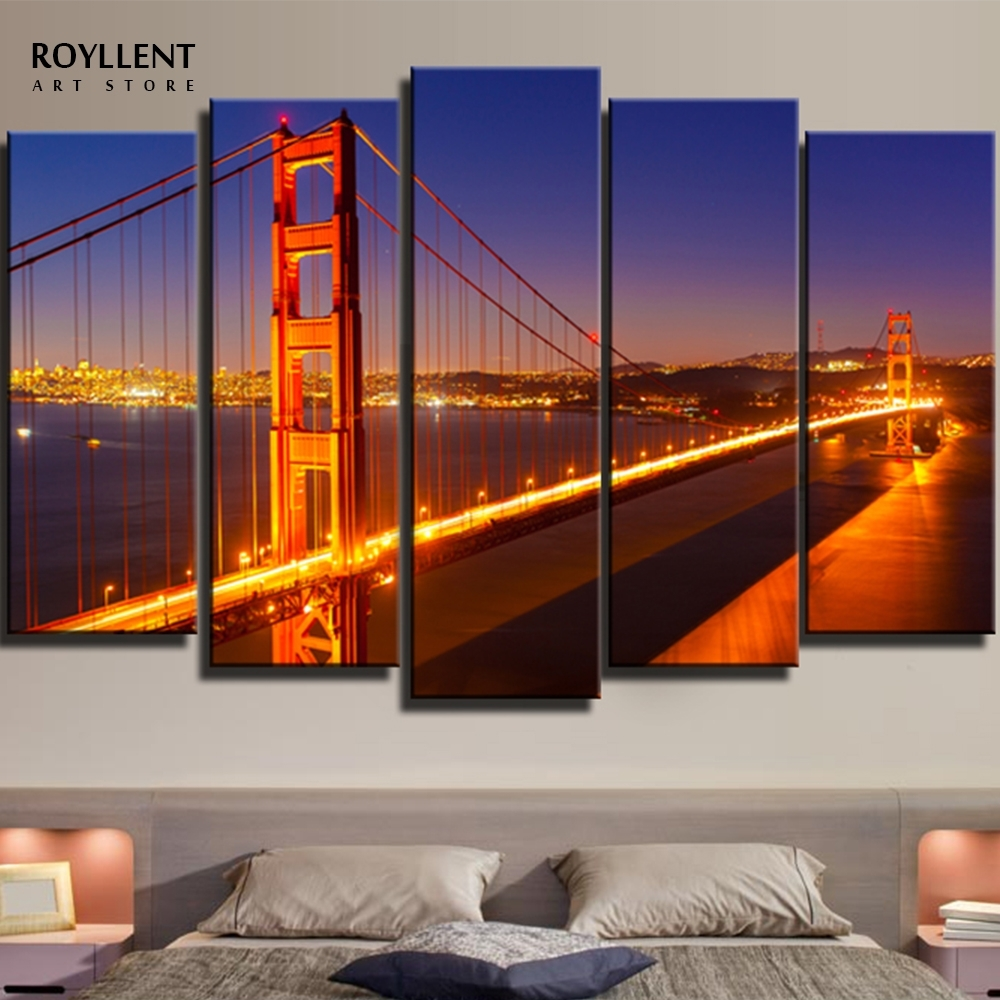 Modern Panels New York Cityscape Golden Gate Bridge Paintings Intended For Current Golden Gate Bridge Canvas Wall Art (Gallery 2 of 15)