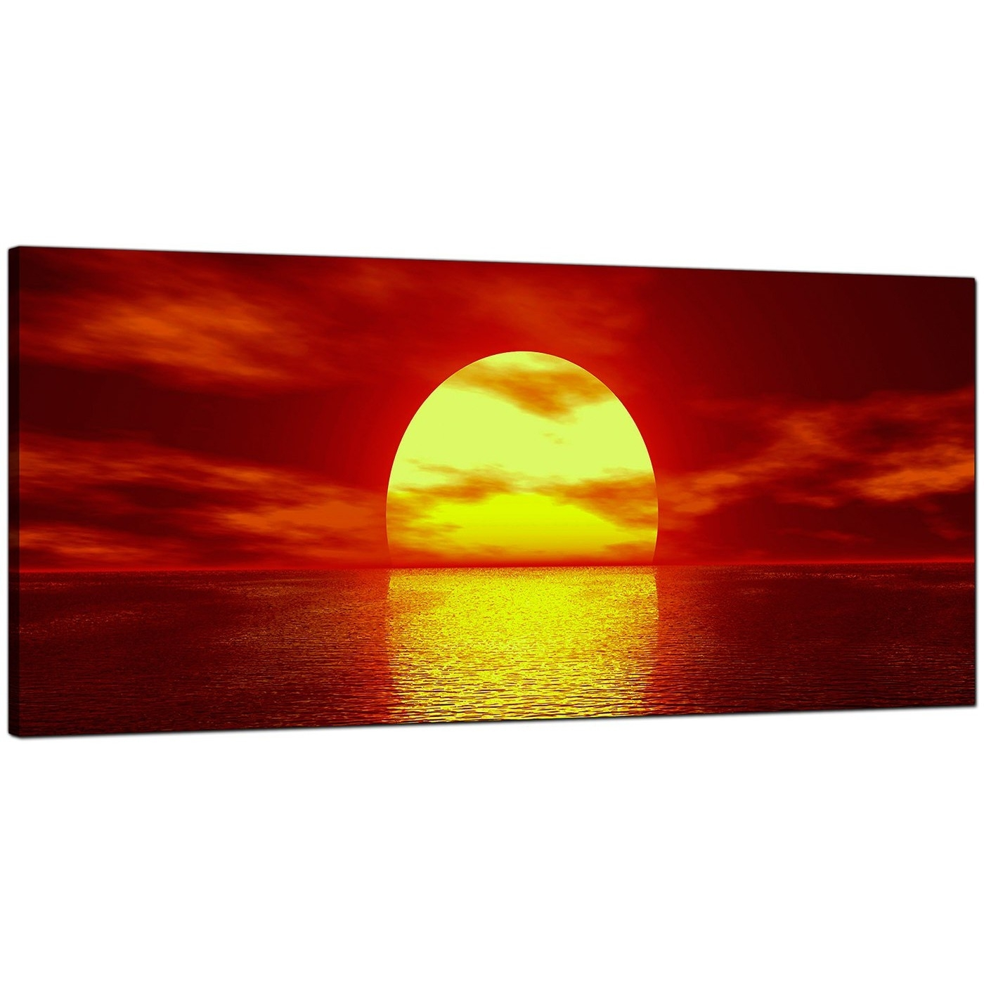 Modern Red Canvas Wall Art Of A Sea Sunset With Regard To Best And Newest Red Canvas Wall Art (View 12 of 15)