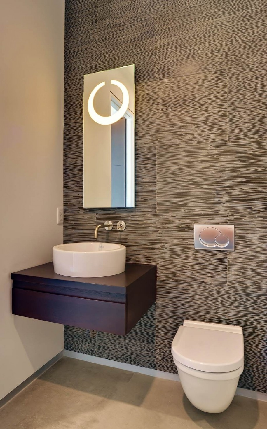 Modern Small Powder Room Design Featuring Cool Grey Wood Grain With Regard To Latest Wall Accents Behind Toilet (View 9 of 15)