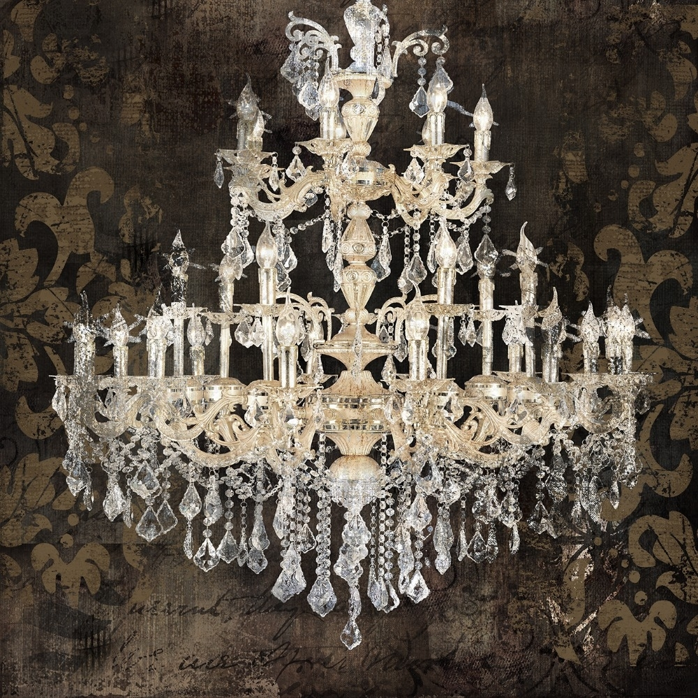 Modern Still Life Painting Canvas Art Crystal Chandelier Pattern Throughout Most Up To Date Chandelier Canvas Wall Art (Gallery 4 of 15)