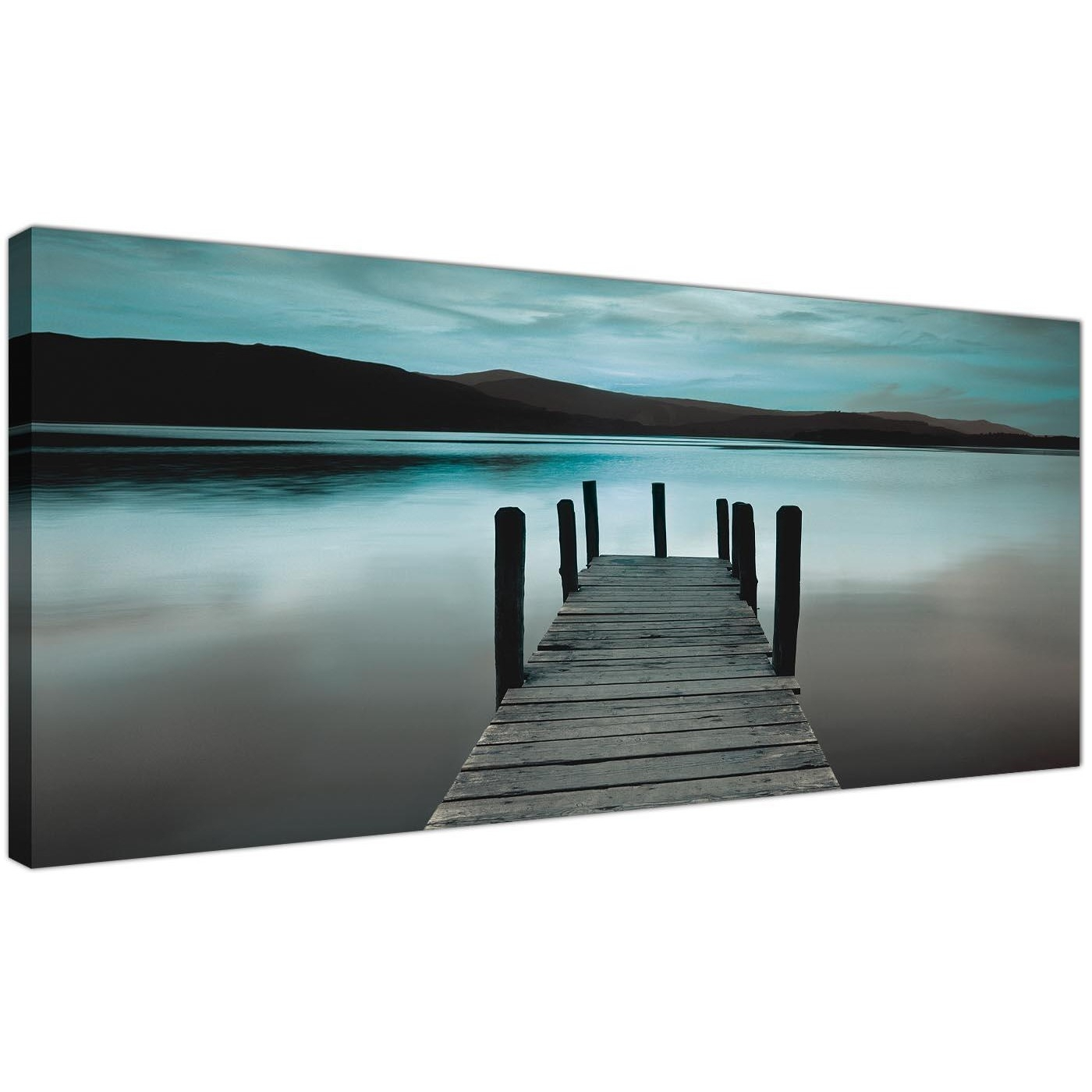 Modern Teal Derwent Water Lake Canvas Print Intended For Latest Jetty Canvas Wall Art (View 11 of 15)