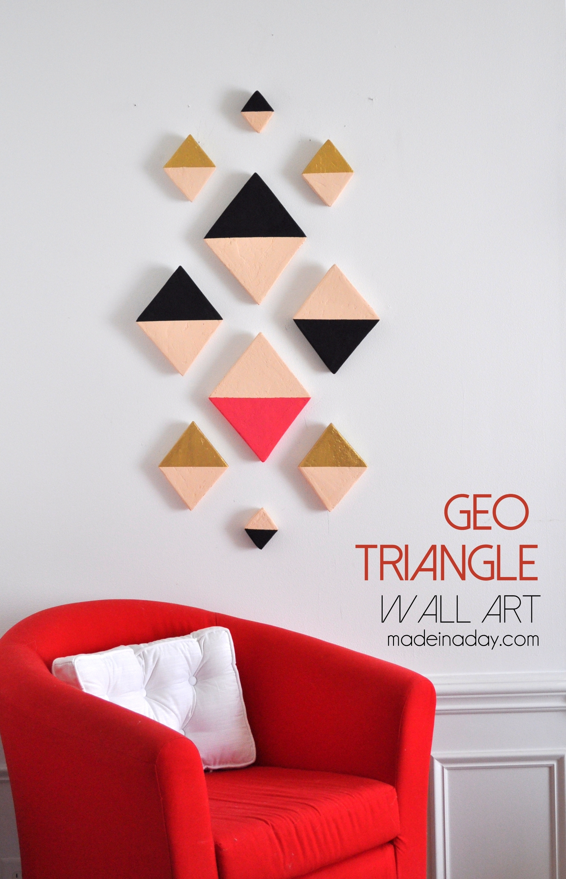 Modern Triangle Geo Wall Art, Foam Discs Cut Into Triangles, Aztec In Most Current Aztec Fabric Wall Art (View 11 of 15)