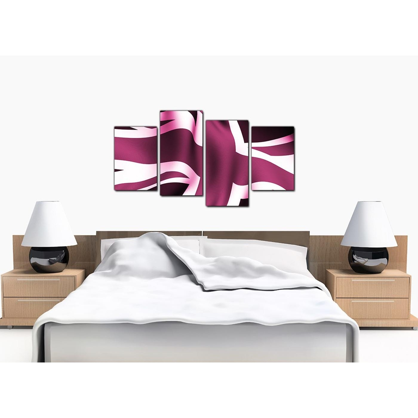Modern Union Jack Canvas Prints In Plum – For Bedroom Regarding Newest Union Jack Canvas Wall Art (View 8 of 15)