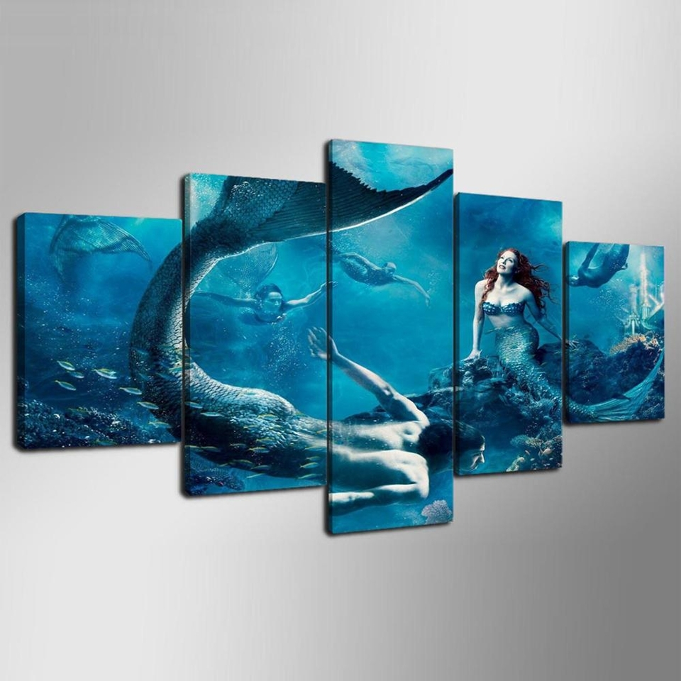 Modular Home Decor Canvas Wall Art 5 Panel Mermaid Blue Sea Inside Latest Blue Canvas Wall Art (Gallery 11 of 15)